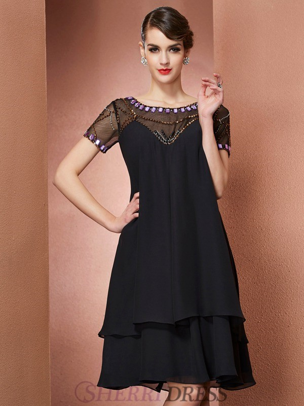 A-Line/Princess Scoop Chiffon Short Sleeves Knee-Length Mother of the Bride Dresses