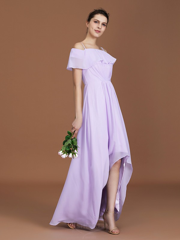 A-Line/Princess Off-the-Shoulder Chiffon Short Sleeves Floor-Length Bridesmaid Dresses