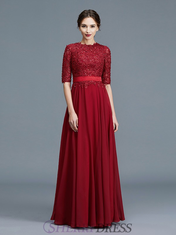 A-Line/Princess Scoop Chiffon 1/2 Sleeves Floor-Length Mother of the Bride Dresses