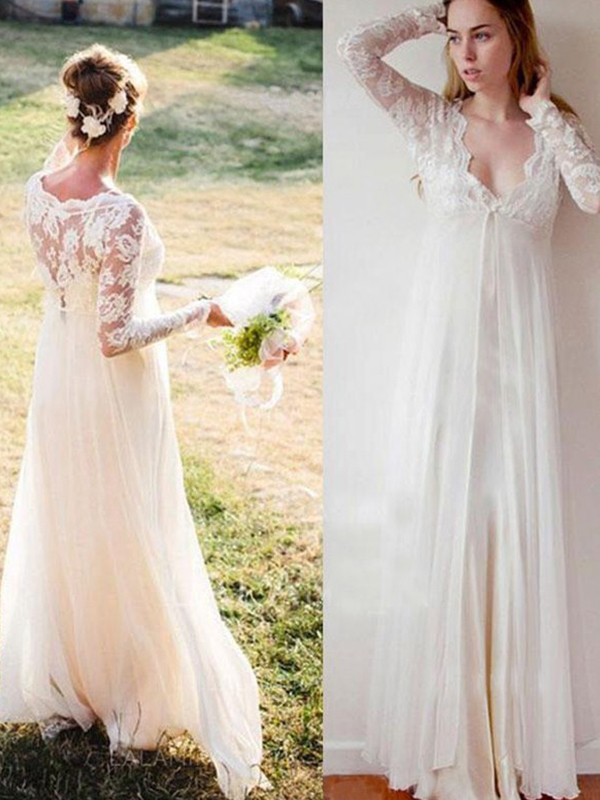 Empire V-neck Chiffon Long Sleeves Floor-Length Wedding Dresses