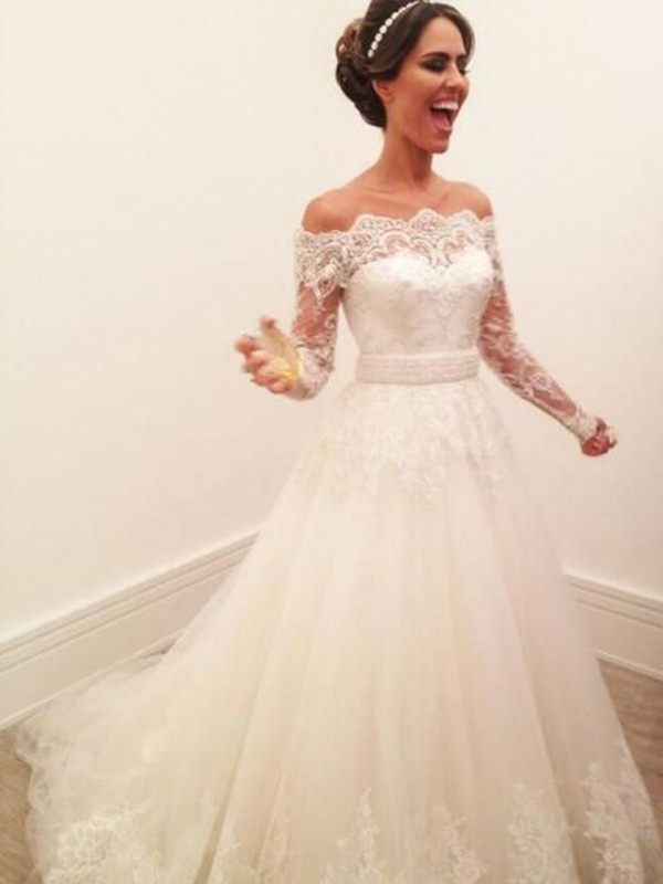A-Line/Princess Off-the-Shoulder Tulle Long Sleeves Sweep/Brush Train Wedding Dresses