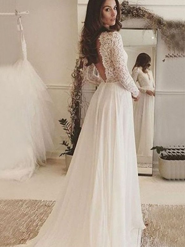 A-Line/Princess Scoop Chiffon Long Sleeves Sweep/Brush Train Wedding Dresses