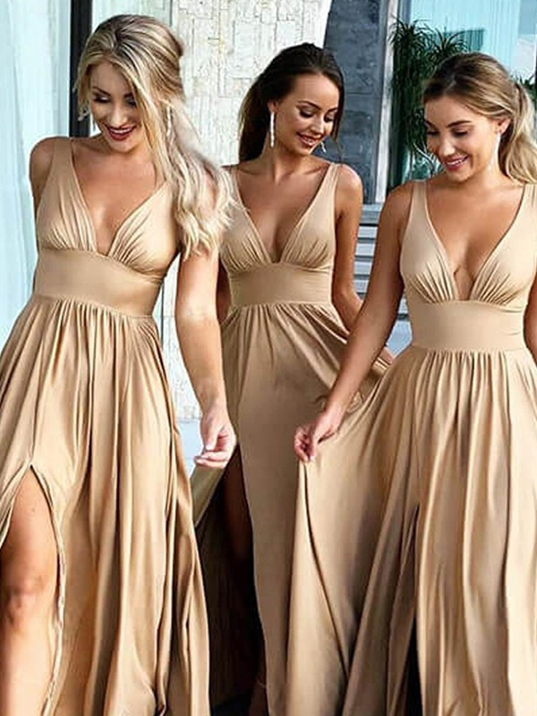 A-Line/Princess V-neck Silk like Satin Sleeveless Sweep/Brush Train Bridesmaid Dresses
