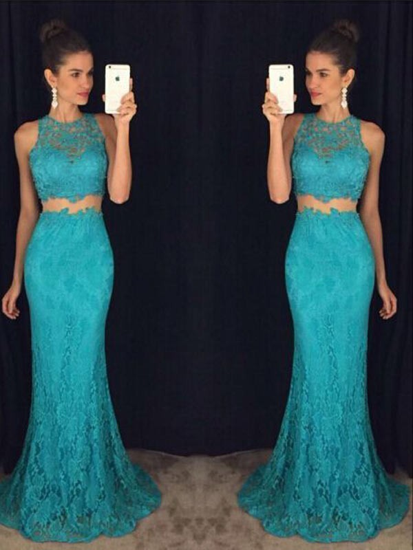 Sheath/Column Scoop Lace Sleeveless Floor-Length Two Piece Dresses