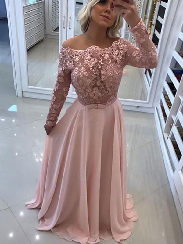A-Line/Princess Bateau Chiffon Long Sleeves Floor-Length Dresses