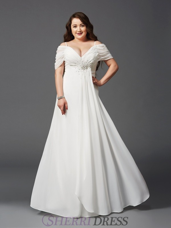 A-Line/Princess Off the Shoulder Chiffon Short Sleeves Floor-Length ...