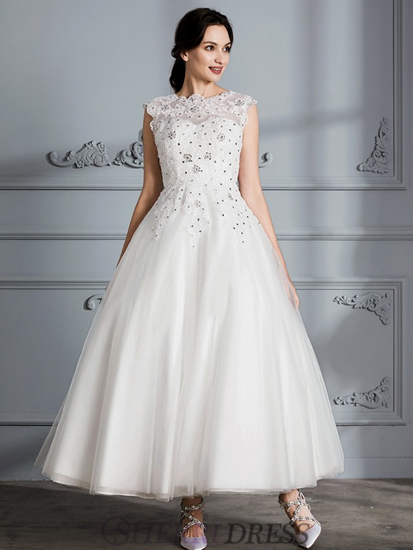 Ball Gown Scoop Tulle Sleeveless Tea-Length Wedding Dresses ...