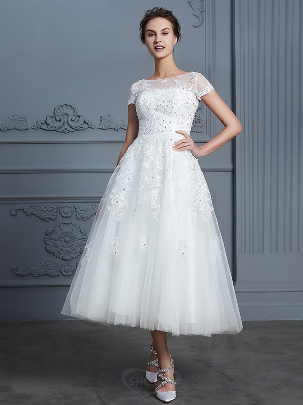 A Line Princess Scoop Tulle Short Sleeves Tea Length Wedding