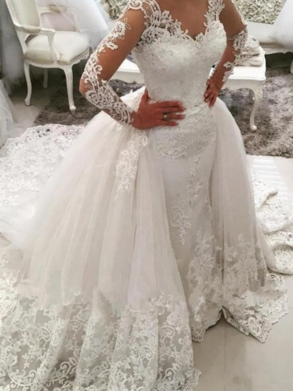 9fe4279e5af6 Ball Gown V-neck Tulle Long Sleeves Cathedral Train Wedding Dresses ...