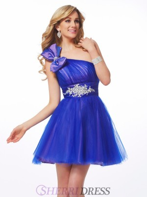A-Line/Princess One-Shoulder Net Sleeveless Short/Mini Dresses