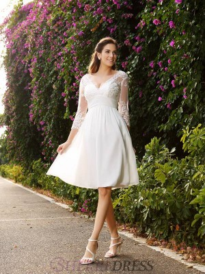 A-Line/Princess V-neck Chiffon 3/4 Sleeves Knee-Length Wedding Dresses