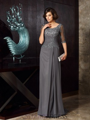 A-Line/Princess Scoop Chiffon 1/2 Sleeves Sweep/Brush Train Mother of the Bride Dresses