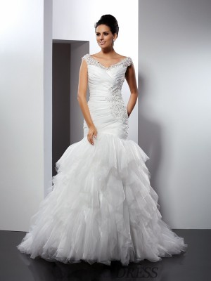 Trumpet/Mermaid V-neck Tulle Sleeveless Cathedral Train Wedding Dresses