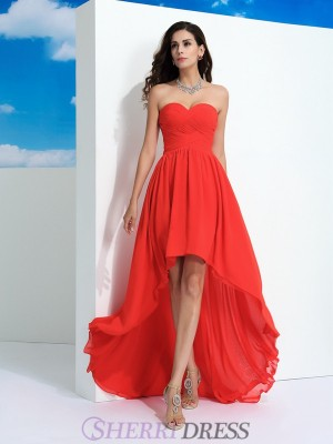 A-Line/Princess Sweetheart Chiffon Sleeveless Asymmetrical Prom Dresses