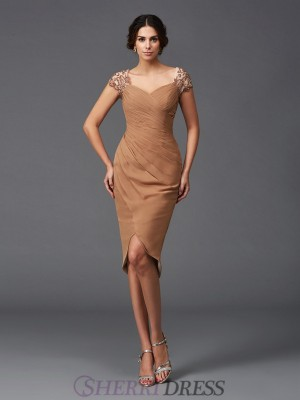 Sheath/Column Sweetheart Chiffon Short Sleeves Asymmetrical Cocktail Dresses