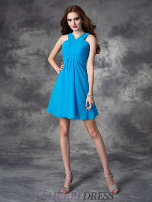 A-line/Princess V-neck Silk like Satin Sleeveless Short/Mini Cocktail Dresses