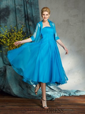 A-Line/Princess Strapless Organza Sleeveless Knee-Length Mother of the Bride Dresses