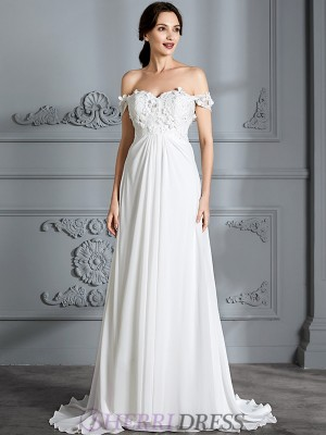A-Line/Princess Off-the-Shoulder Chiffon Sleeveless Floor-Length Wedding Dresses
