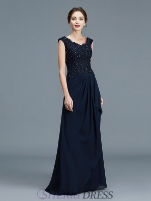 A-Line/Princess V-neck Chiffon Sleeveless Floor-Length Mother of the Bride Dresses