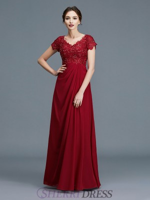 A-Line/Princess V-neck Chiffon Short Sleeves Floor-Length Mother of the Bride Dresses