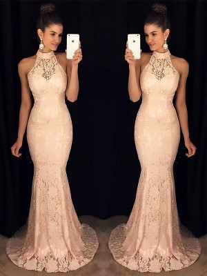 Trumpet/Mermaid High Neck Lace Sleeveless Sweep/Brush Train Dresses