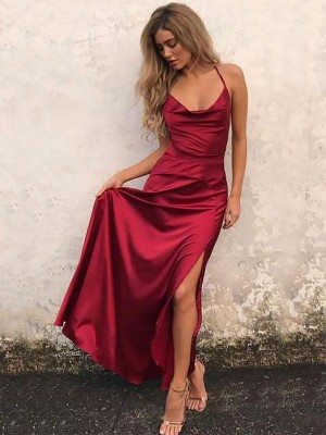 A-Line/Princess Spaghetti Straps Elastic Woven Satin Sleeveless Floor-Length Dresses