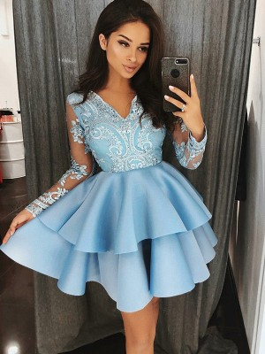 A-Line/Princess V-Neck Satin Long Sleeves Short/Mini Dresses