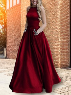 A-Line/Princess Halter Satin Sleeveless Floor-Length Dresses