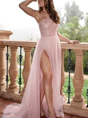 A-Line/Princess One-Shoulder Tulle Sleeveless Sweep/Brush Train Dresses