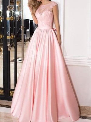 A-Line/Princess Sheer Neck Satin Sleeveless Floor-Length Dresses