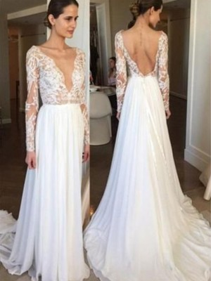 A-Line/Princess V-neck Chiffon Long Sleeves Sweep/Brush Train Wedding Dresses