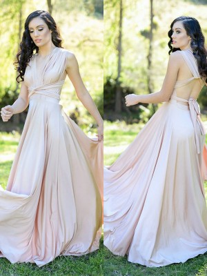 A-Line/Princess V-neck Silk like Satin Sleeveless Floor-Length Bridesmaid Dresses