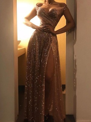A-Line/Princess Off-the-Shoulder Sequins Sleeveless Floor-Length Dresses