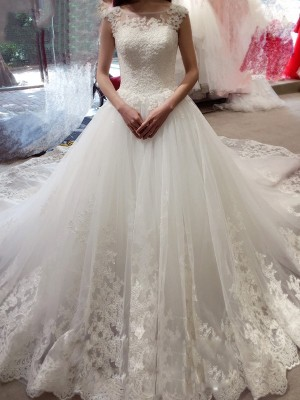 Ball Gown Bateau Tulle Sleeveless Court Train Wedding Dresses