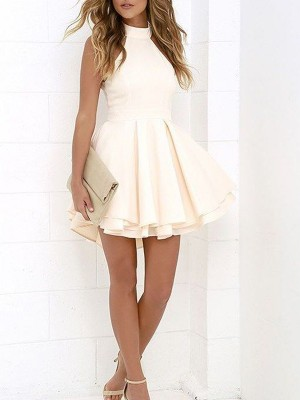 A-line/Princess Halter Satin Sleeveless Short/Mini Dresses