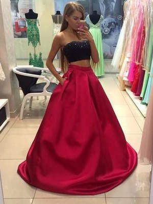 A-Line/Princess Strapless Tulle Sleeveless Floor-Length Two Piece Dresses