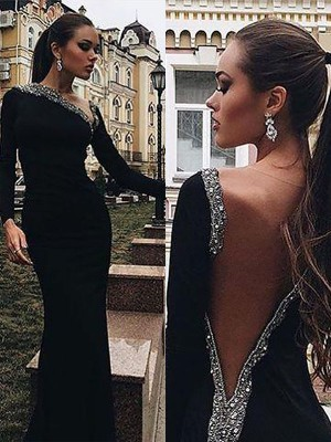 Trumpet/Mermaid One-Shoulder Spandex Long Sleeves Floor-Length Dresses