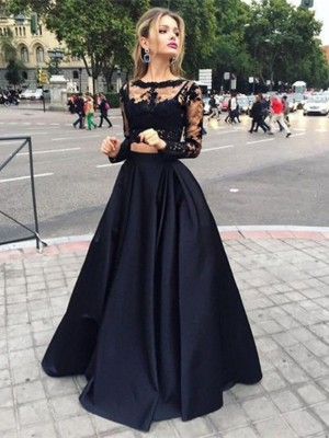 Ball Gown Bateau Satin Long Sleeves Floor-Length Two Piece Dresses