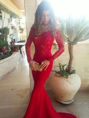 Trumpet/Mermaid Off-the-Shoulder Satin Long Sleeves Sweep/Brush Train Prom Dresses
