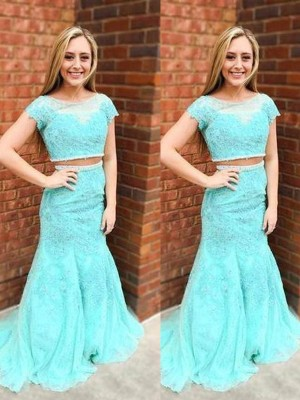 Trumpet/Mermaid Scoop Lace Short Sleeves Sweep/Brush Train Two Piece Prom Dresses