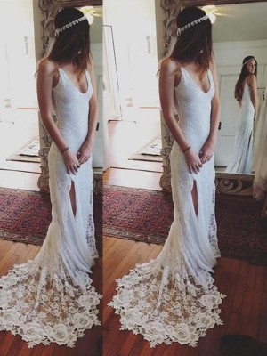 Sheath/Column Straps Lace Sleeveless Court Train Wedding Dresses