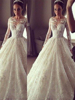 Ball Gown Scoop Lace Long Sleeves Court Train Wedding Dresses