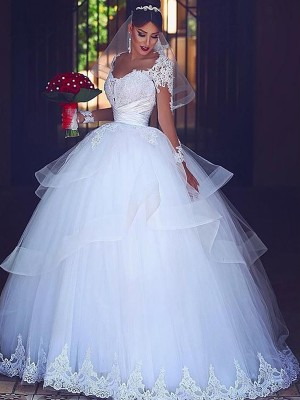 Ball Gown Sweetheart Tulle Long Sleeves Floor-Length Wedding Dresses