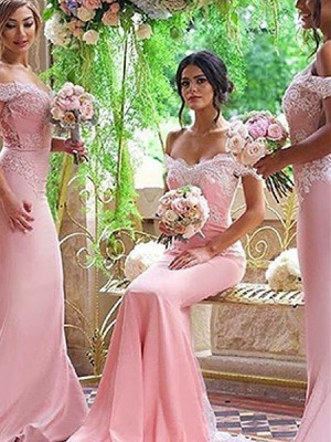 Sheath/Column Off-the-Shoulder Satin Sleeveless Sweep/Brush Train Bridesmaid Dresses
