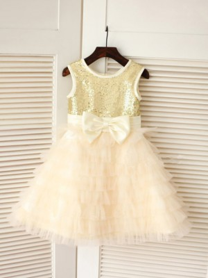 A-Line/Princess Scoop Tulle Sleeveless Tea-Length Flower Girl Dresses