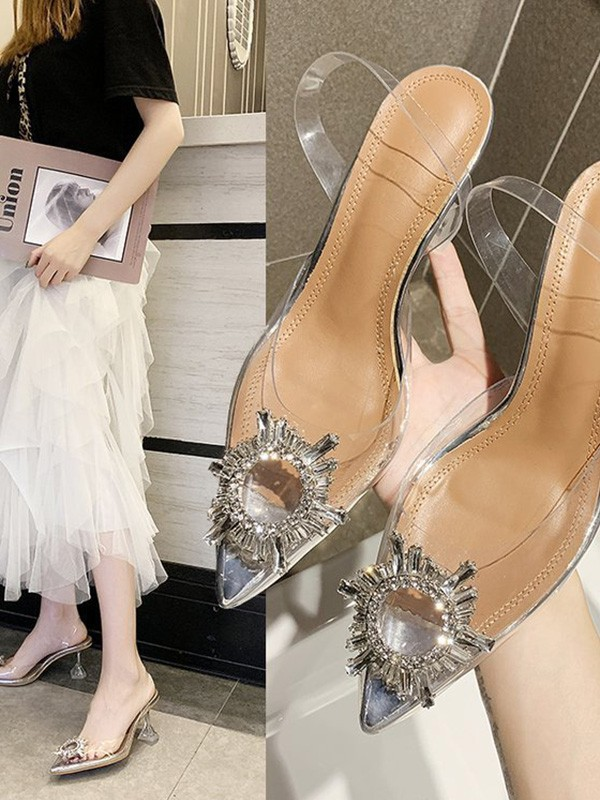 Women Rhinestone Kitten Heel Closed Toe Sandals