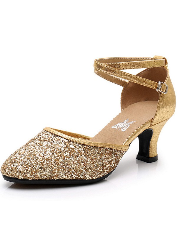 Women Sparkling Glitter Cone Heel Closed Toe Sandals