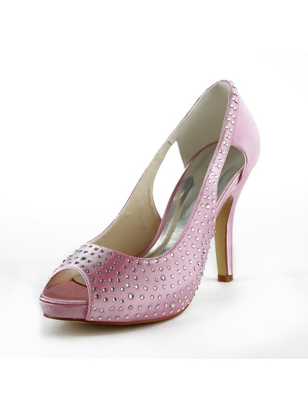 Women's Beautiful Satin Stiletto Heel Peep Toe With Rhinestone Pink Wedding Shoes