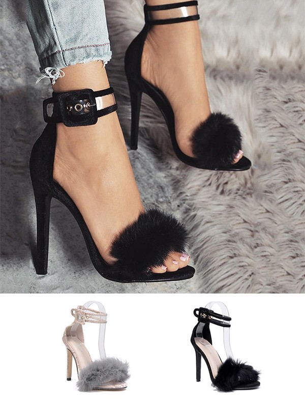 Women's Suede With Buckle Peep Toe Stiletto Heel Sandals