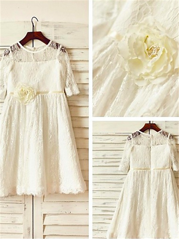 A-line/Princess Scoop Lace 3/4 Sleeves Ankle-Length Flower Girl Dresses
